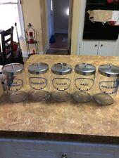 5 Grafco Glass Med. Apothecary Jars Applicators-Gauze-Bandages-Cotton-Tongue D
