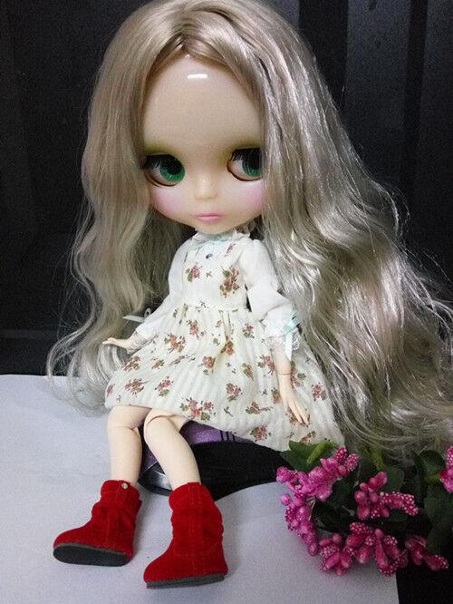 12  Neo Blythe muñeca de fábrica cuerpo articulado Plata Transparente De Piel Pelo gris