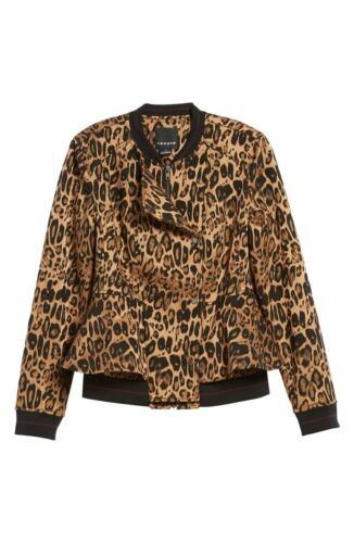 $195.00 NWT Trouve Women/'s Leopard Print Peplum Moto Jacket Medium #581