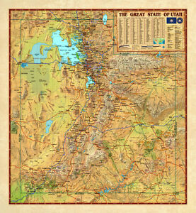 Wide World Utah Usa Physical Political Wall Map 3 Sizes