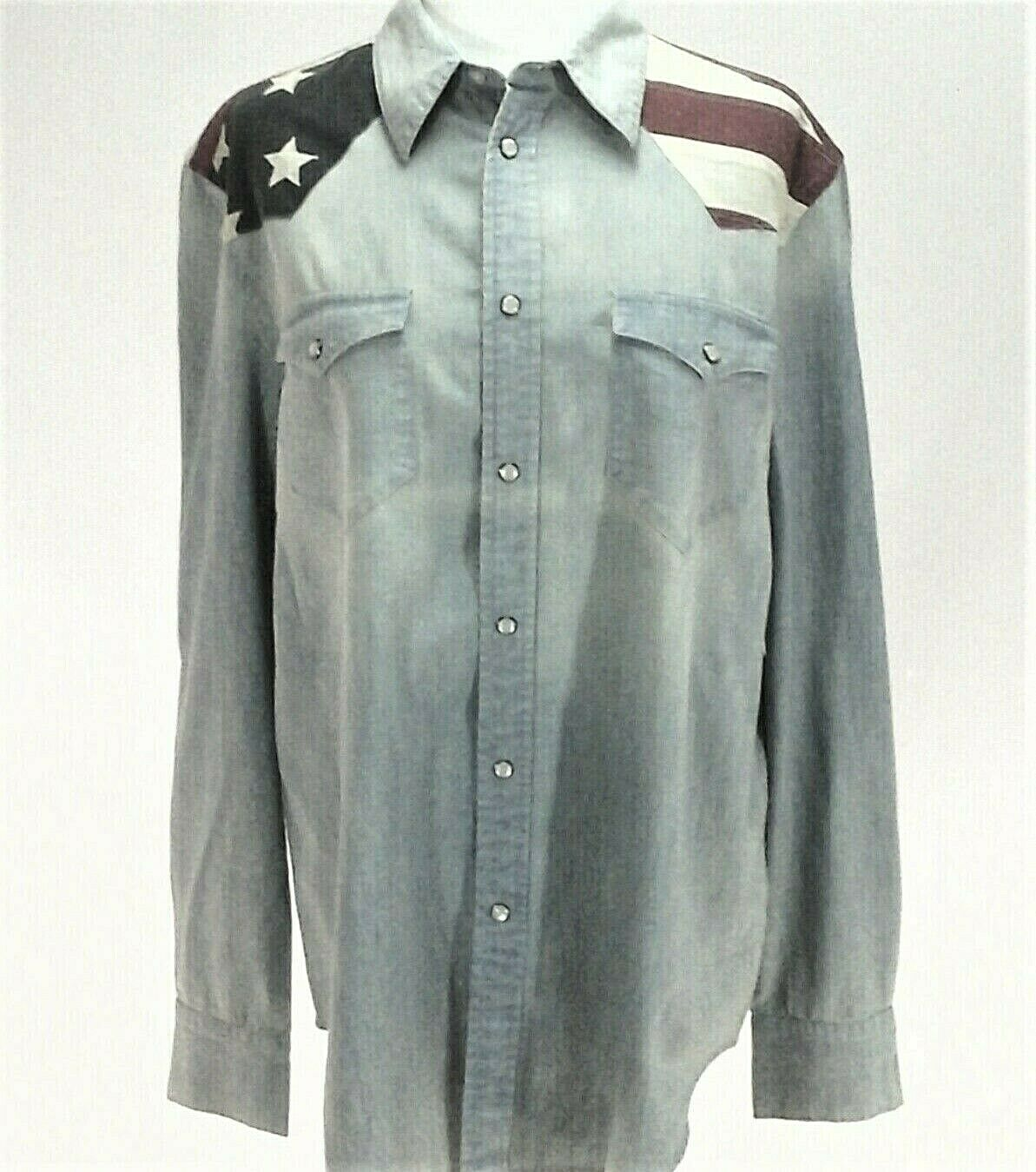 Polo Ralph Lauren Western Cowboy American US Flag Denim Shirt damen XS M
