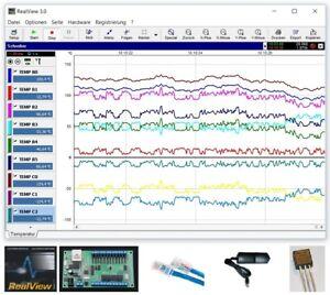 Ethernet-Temperaturerfassung, Komplettset, 12 Kanäle