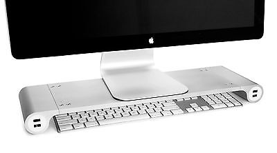 Quirky Space Bar Desk Organizer Monitor Stand & 6-Port USB Hub -white