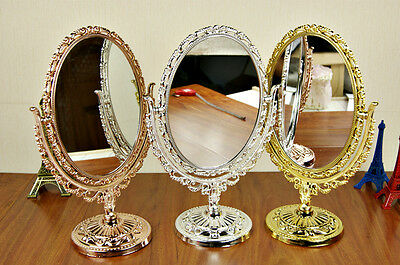 GOLD SILVER BRONZE VANITY MAKE UP COSMETIC TABLE BATHROOM MIRROR ON FOOT STAND