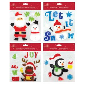 Lot de 4 x NOËL Xmas Square Fenêtre Gel Jelly Stickers Autocollants Décorations