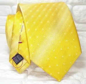 Top-class-Cravatta-gialla-cuciture-rosse-100-seta-Made-in-Italy-marca-TRE