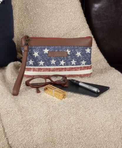 Antebellum Canvas Wristlet Pouch American Flag NWT
