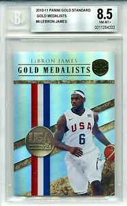 2010-11-LeBron-James-299-Panini-Gold-Standard-GOLD-MEDALISTS-4-BGS-8-5-NM-MT