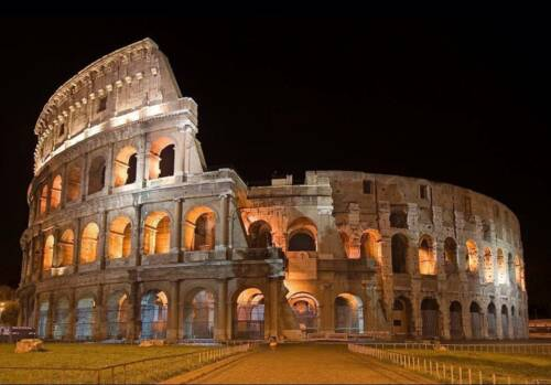 Encadrée Imprimer Rome-Le Colisée illuminé la nuit (photo Gladiator Italie Romain)