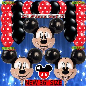 Details About 25 Bundle Mickey Mouse Birthday Party Balloons Balloon Minnie Red Decoration Boy