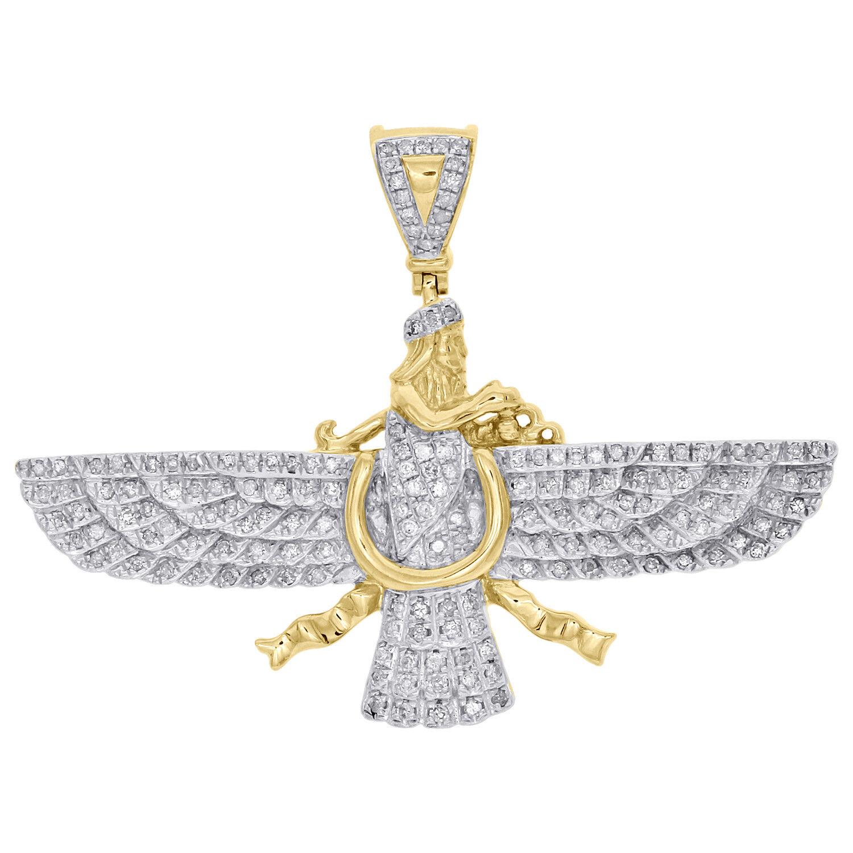 10K Yellow gold Diamond Persian Empire Religious Symbol 1.40  Pendant 0.72 CT.