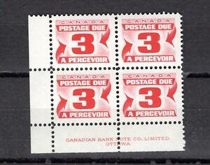 CANADA -  POSTAGE DUE - J23 CORNER BLOCK OF 4 - FMNH - 1967