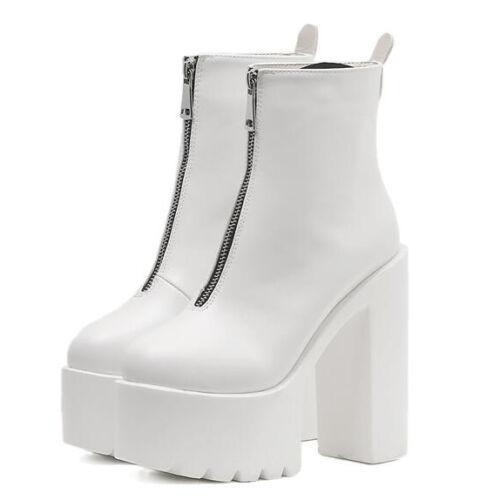 Stiefeletten Stiefel Absatz Eckig Platform Weiß 14 cm Leder Kunststoff 1373