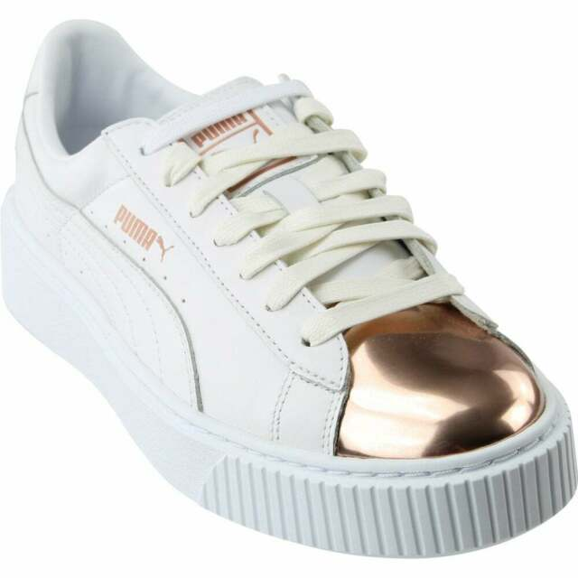PUMA Basket Platform Metallic Womens White Leather Lace up SNEAKERS Shoes 10