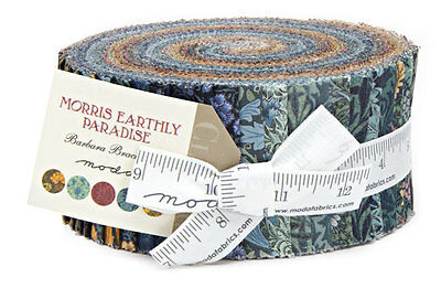 "Moda FABRIC Jelly Roll ~ MORRIS EARTHLY PARADISE ~ Barbara Brackman 2.5"" Strips"
