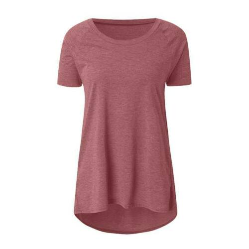 Womens Short Sleeve Crew Neck Solid T Shirts Blouse Summer Tunic Tee Tops Casual