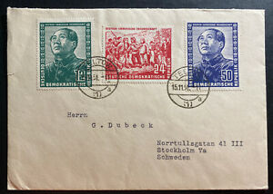 1951-Teltow-East-Germany-DDR-Cover-Mao-Tse-Tung-Set-82-84-To-Stockholm-Sweden