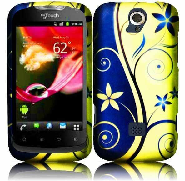 T-Mobile Huawei myTouch Q U8730 Rubberized HARD Case Phone Cover Royal Swirl