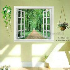Huge 3D Window View Green Forest Wall Stickers Mural Wallpaper Art Decal Decor
