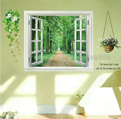 Huge 3D Window View Green Forest Wall Stickers Mural Wallpaper Art Decal Decor