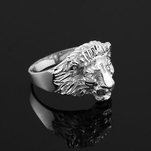 Sterling Silver Lion Head Men S Ring Ebay