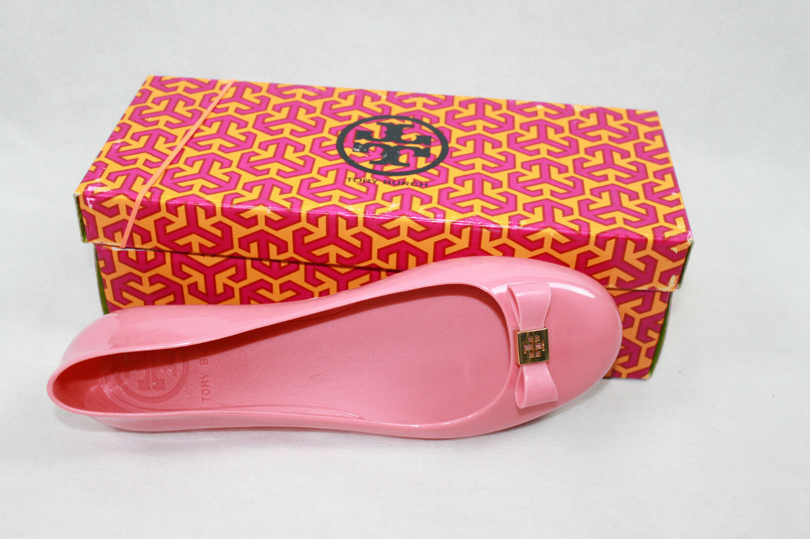 AUTH Tory Burch Damens Pink Jelly Flat Schuhes