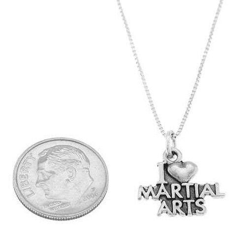 Sterling Silver I Love Arts Martiaux charme avec Boîte Chaîne Collier cœur