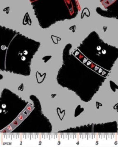 Cuarto gordo Carboncillo Gato Felino Algodón Acolcha Costura Tela Gris