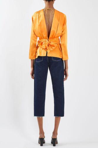 Topshop Boutique Pure Silk Bow Back Orange Satin Blouse Top UK 10 12 14 BNWT