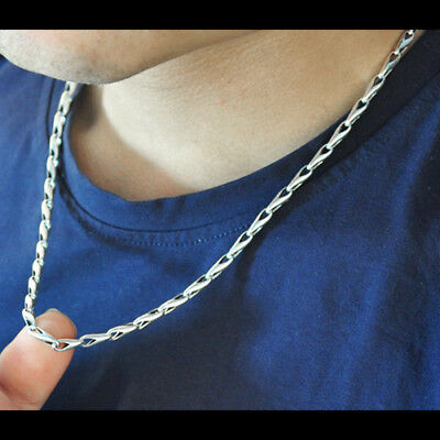 """24/"""" Real 925 Sterling Silver Necklace Melon-Seed Link Chain 18/"""""""
