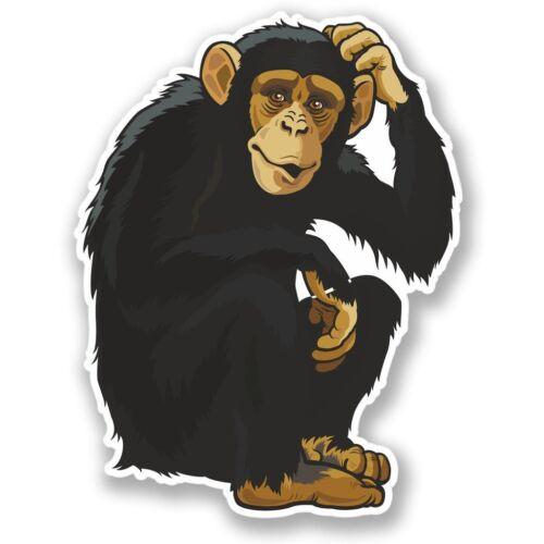 2 x Monkey Chimp Vinyl Sticker Laptop Travel Luggage #4361