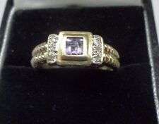 9ct Gold Diamond and Pink Gemstone ( Amethyst ?) Ring  Size P  US 7 3/4