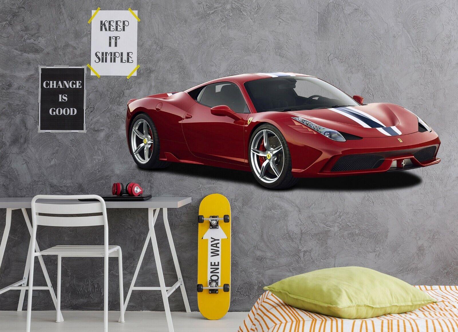 3D Ferrari N50 Car Wallpaper Mural Poster Transport Wall Stickers Amy