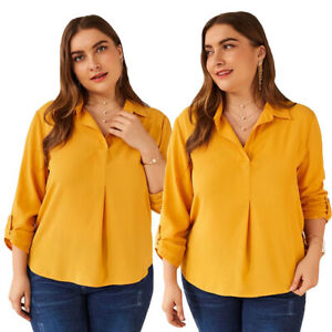 Fashion-Women-Plus-Size-Shirt-Casual-Loose-Blouse-Top-V-neck-Lady-Tops-New