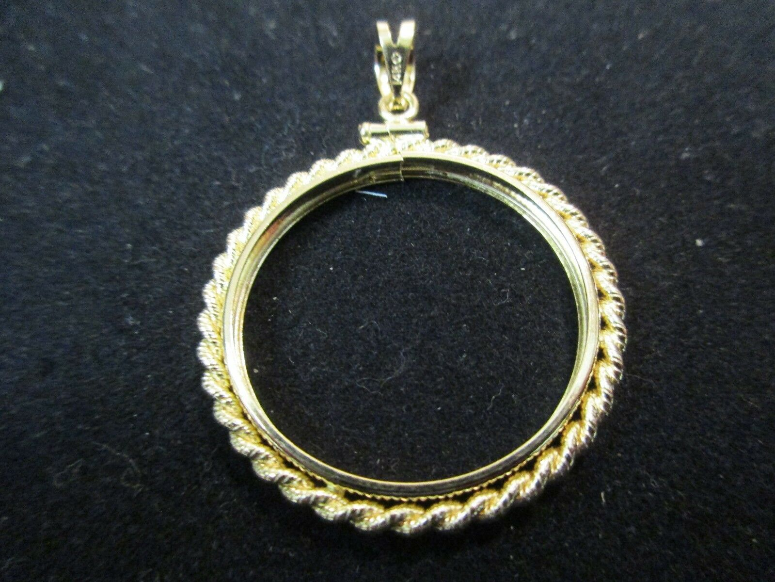 46f144429b056 everyday low prices 1 2oz gold EAGLE SMALL ROPE BEZEL SOLID 14K gold ...