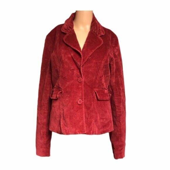 Vintage fossil jacket red crushed velvet corduroy… - image 1