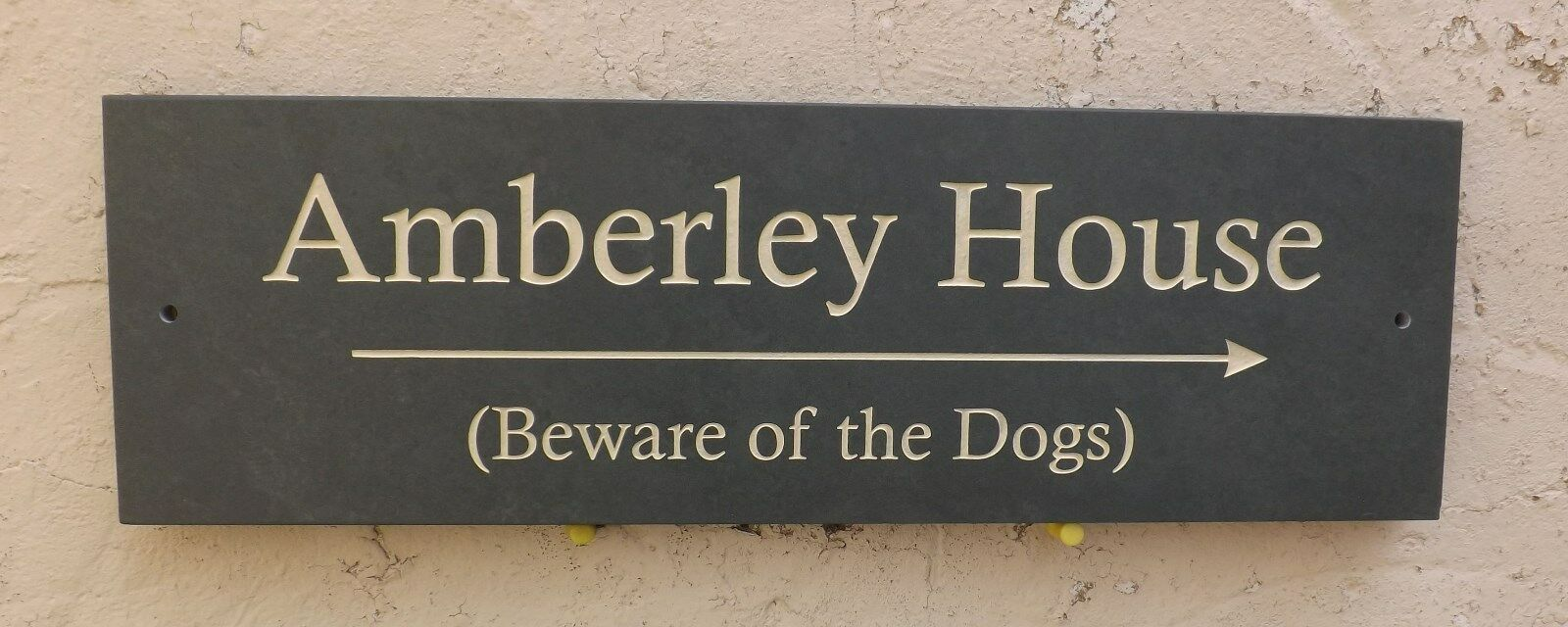 ENGRAVED SLATE HOUSE DOOR NAME PLAQUE PLATE NUMBER SIGN - 400 x 125mm (16 x 5 )