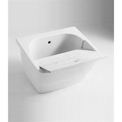 Lavandino Lavatoio su staffe o supporti in ceramica blanc con asse in legno