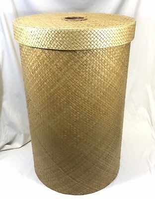 Large Round Designer Wicker Laundry Hamper With Lid Shabby