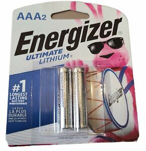 AAA2 Energizer Ultimate Lithium 2 Pack, Expires 12/2040 Two Packs of 2 Batteries