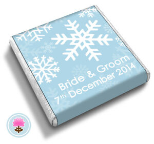 50-Personalised-SNOWFLAKES-Winter-Christmas-Frozen-Ice-Wedding-Favour-Chocolates