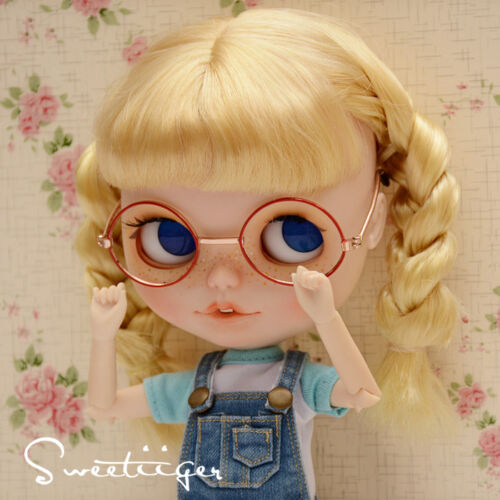 "【Tii】 12/"" Blythe//pullip outfit clothe glasses gold /& red doll glasses fashion"