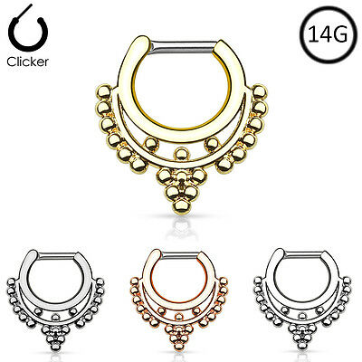 316L Surgical Steel Brass Hinged Septum Clicker Nose Ring Hoop Beaded 14G