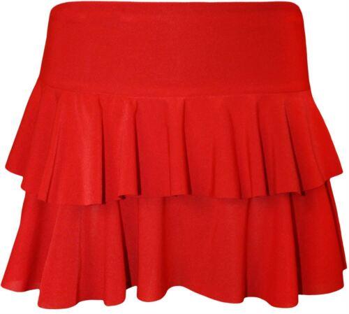New Womens Plain /& Neon Elasticated  Flared Mini Skirts 8-14