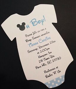 Image Is Loading Blue Mickey Mouse Baby Shower Invitation All Wording