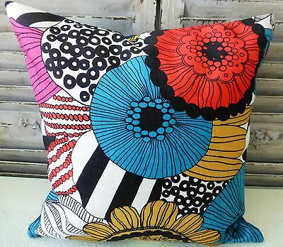 Colour Burst Blue Red Yellow Pink Black White Floral Cushion Cover