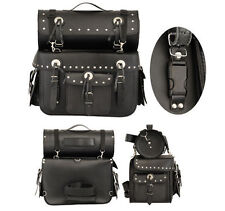 New Leather Saddle Bag & Tool Roll / Bag For Motorcycle Cruisers Touring Luggage