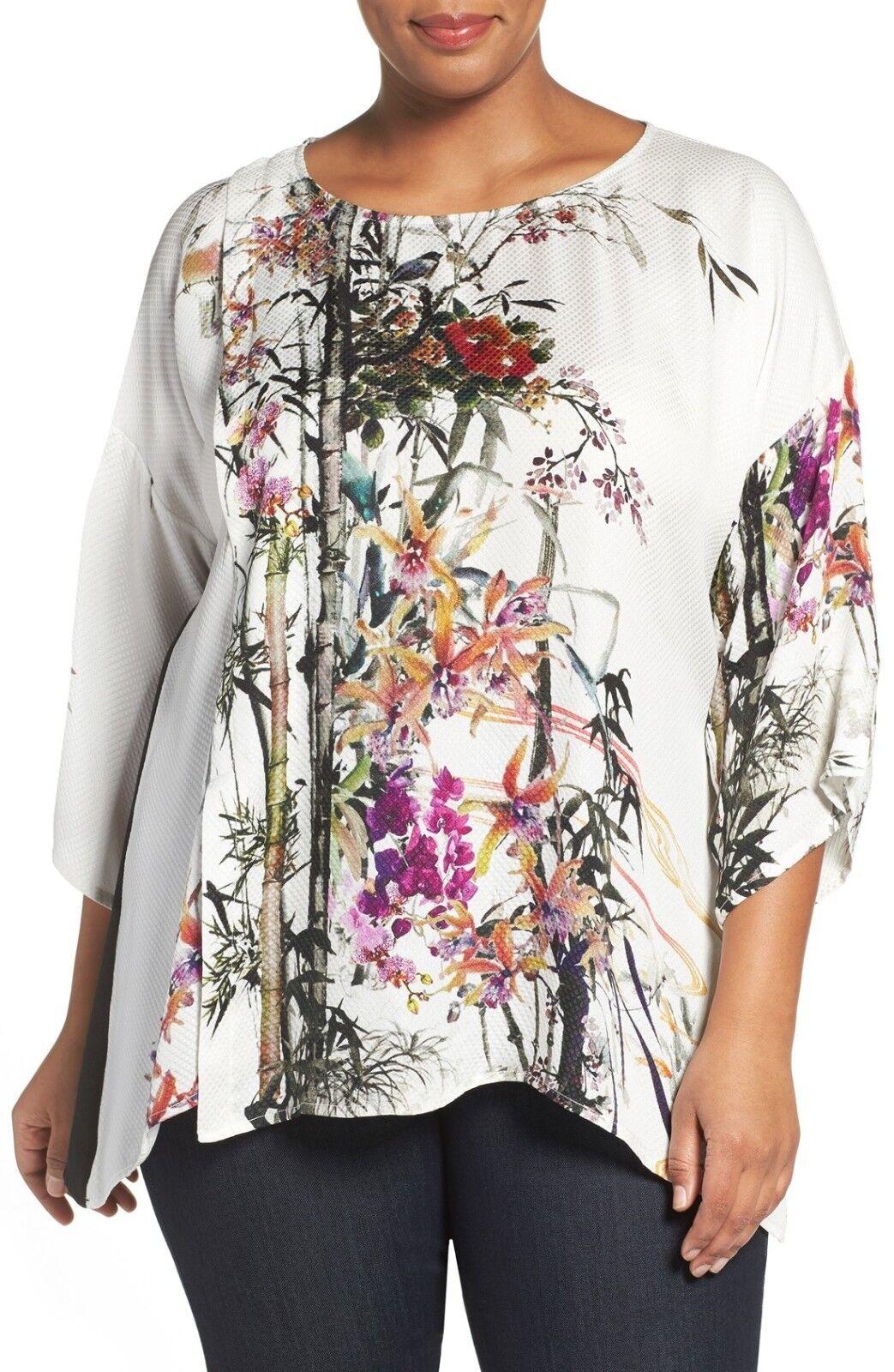 Citron Clothing 100% Silk Art To Wear Weiß Floral  Fukure Blouse Plus 0X