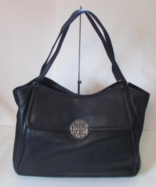 d711f0512b3 Tory Burch Amanda Easy Tote Large black tumbled leather purse bag luggage