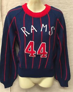 ORIGINAL Vintage N.O.S WOMENS RAMS 44 PREPPY CREW NECK KNITTED JUMPER SIZE L